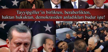 Tayyipgiller'in birlikten, beraberlikten, haktan hukuktan, demokrasiden anladıkları budur işte!