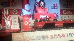 DİSK Genel Başkanlığı'na aday olan Nakliyat-İş üyesi, Real Market direnişçisi Kader İpek Altınbulak'ın DİSK Genel Kurulu'nda yaptığı konuşma