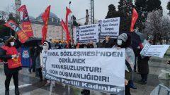 İstanbul Sözleşmesi'nden çekilen AKP'giller'in kadın düşmanlıklarına karşı Kurtuluş Partili Kadınlar Türkiye'nin dört bir yanında eylemlere devam ediyor